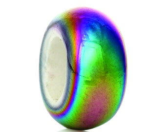 Flat Round Multicolor Ceramic Bead 10 beads