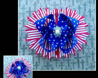 4th of July boutique hair bow hair clip hairbow red white and blue stars stripes patriotic independence day