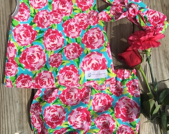 Floral Rose Bloomers and matching Knot Headband