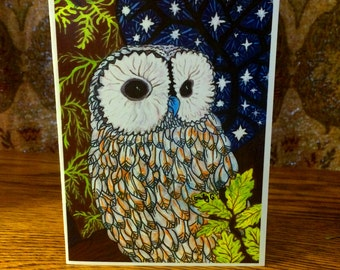 Snow Owl in the Starry Sky