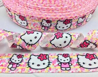 "1"" 25mm Hello Kitty Pink Grosgrain Ribbon 5 yds DIY Hair Bow Crafts Scrapbooking"