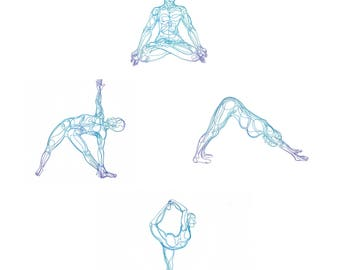6 pack of Yoga Postcards