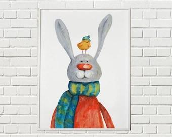 huge bunny nursery painting/rabbit print/bunny brid painting/rabbit illustration/Nursery Decor/baby wall art/kids decor/bird prints rabbit