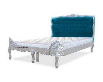 French Versailles Silver Leaf Queen Size Bed with Tufted Turquoise Fabric