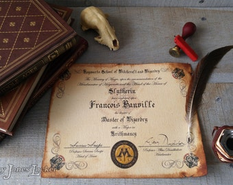 Personalized Hogwarts House certificate/diploma - Harry Potter - Slytherin