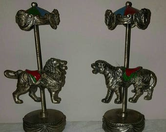 FREE SHIPPING Set of 2 Pewter Carousel Collectibles