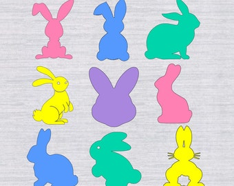 Easter Bunny SVG bundle, Easter SVG, Easter bunny silhouettes, clipart, dxf, files for silhouette or cricut, Easter basket svg files,cutfile