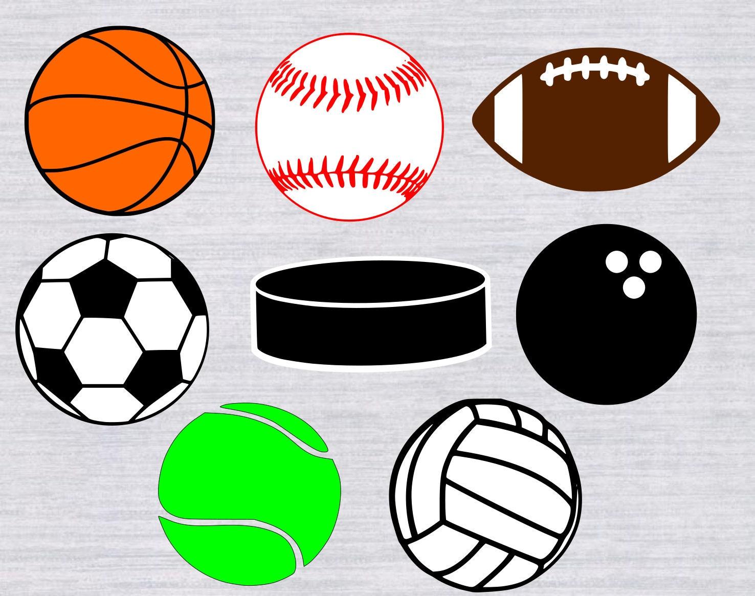svg sports balls bundle basketball football baseball cut clip cricut tennis silhouette whole