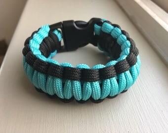 Paracord Bracelet Multi-Core Cobra that's Turquoise and Black a Heavy Duty Bracelet