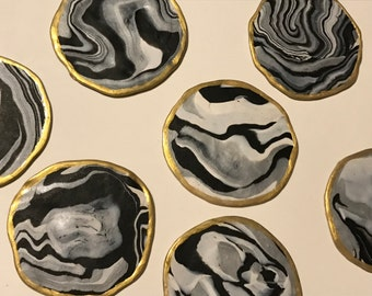 Zebra Black & White Marble Coasters, Premier Bake Clay Coasters, Marbled to Perfection, Gilded Marbled Coasters, Drink Set, Free Shipping!