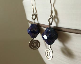 Blue shimmer hammered drop earrings
