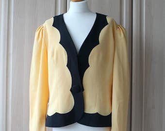 Vintage Cream and Black Jacket with Shoulder Pads by Condici US Size 12 10  UK/Aus/Nz Size 16 14 80's Fasion
