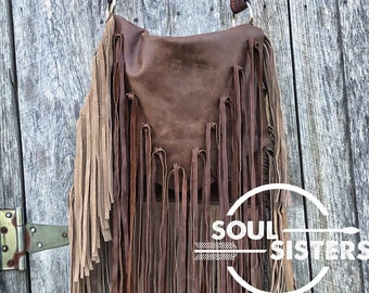 Darker brown distressed leather handbag with fringe! Soft, boho, flap, gypsy, western!  Includes foxtail!!