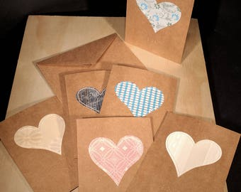 Feel the Love - Braille Love card 6 pack with stitched heart in assorted paper - A2 - Inside reads 'Feel the Love'