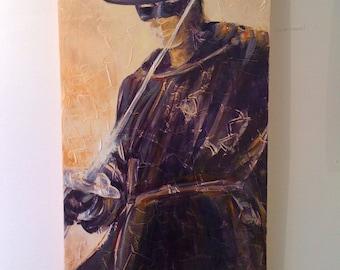 Modern Zorro. Acrylic on canvas vertical. Superhero. Original painting big. Portrait of man. Gift for him. Gift man