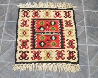 Free Shipping! Kilim Rug  Oushak Rug Vintage Hand Woven Turkish Rug Turkish  Rug Vintage turkish rug kilim Rug      1.6 x 1.5 feet    e:221