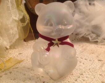 Vintage Fenton Translucent Glass Teddy Bear