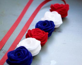Red, White, and Blue Rosette Tieback Crown