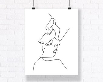 In Each Other's Eyes. Hand Drawn Black and White Line Art. Modern Ink Illustration.