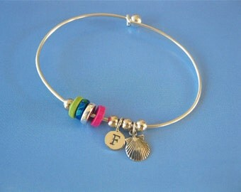 Camino de Santiago charm bangle, personalised with Initial Letter
