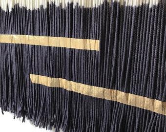 Metallic Detailing | Dip Dyed Tapestry | Fiber Art | Wall Hanging | Bohemian Decor