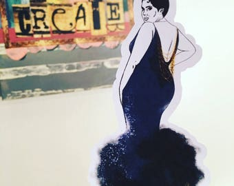 CG Fashion Show, Katja in sparkling midnight blue dress with gold chain draping, planner sticker sheet - (CGfs2)