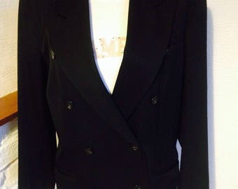 Black formal jacket//Katharine Hamnett Vintage Tailored Jacket//80's design//classic jacket perfect for formal occasion//double breasted