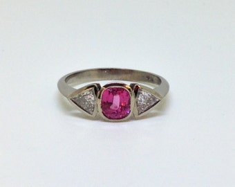 3 stone engagement ring, pink spinel ring, 3 stone ring, pink spinel, diamond ring, diamond engagement ring, wedding, engagement,