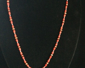 Dainty red coral & pearl with pendant