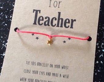 Teacher thank you gift (wishing bracelet)