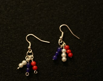 Red, White, and Blue beaded earrings