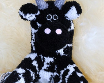 cow, cattle, Stuffed Animal Hand Stitched Sock Critter stuffy cuddly toy fuzzy bull ox  heifer Holstein jersey lovies