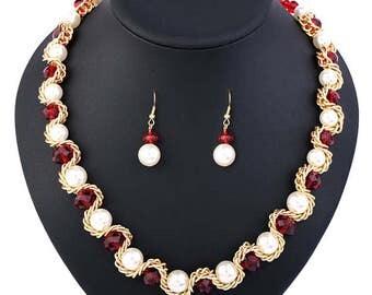 Garnet Pearl Elegant Necklace Set