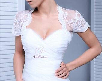 Bridal lace bolero short sleeve
