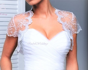 Lace bridal bolero short sleeve