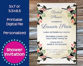 Pink and Tan Floral Shower Invitation