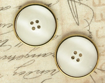 "20 buttons 22mm 36 ""plastic Pearl Gold 4-hole shabby modern"
