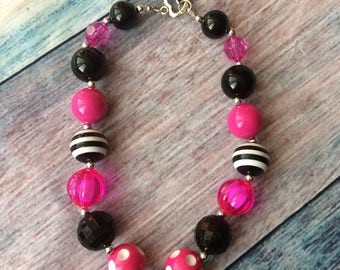 Black and pink kids necklace