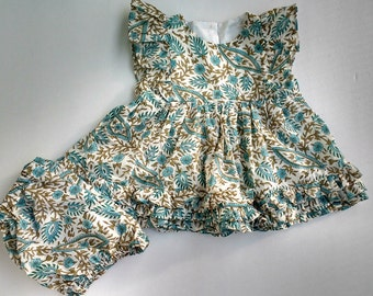 Baby dress, turquoise blockprint , floral baby dress bloomers set, cotton printed dress,toddler girl's dress, size 6m,12m,18m,2y