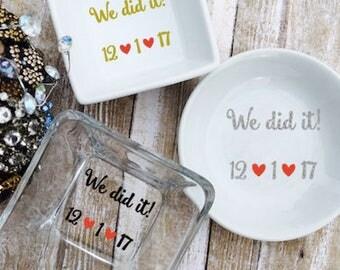 Engagement Ring Dish - Personalized Ring Dish - Custom Wedding Ring Dish - Ring Holder Dish - Bride Ring Dish - Engagement Ring Holder