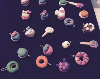 Poylmer Clay Necklace Charms: Sweets (set of 5)