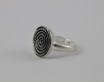 Spiral sterling silver ring