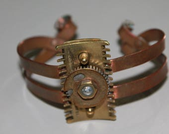 Handmade Copper Bracelet With Vintage 1950s Gillette Razor Head,Mixed Metals