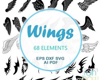 Wings Svg, Angel Wings Svg, Fairy Wings Clipart, Dragon Wings Svg, Bird Wings Vector File, Svg Silhouette, DXF Files, Vector Files, EPS file