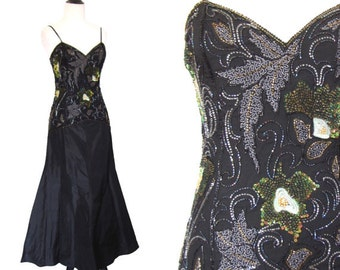 Vintage 1980's Black Beaded Gown - Size M