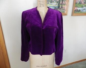 1980s Purple Velvet Jacket Evan Picone size 16