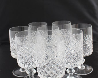 Crystal glasses from water, 8 glasses vintage, 50s, diamond cut