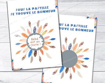 Scratch card customizable announcement birth pregnancy Indian Orange