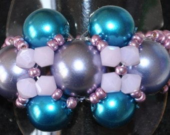 Ring Antique blue, pink & purple