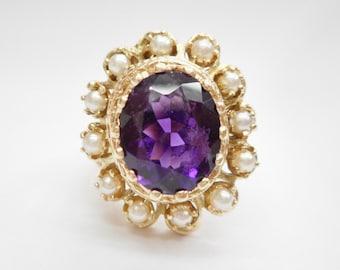 Amethyst Ring, Pearl Ring, Vintage Gold Ring, Vintage Ring, Vintage 10k Yellow Gold 3.2 CT Amethyst & Seed Pearl Ring Sz 5.75 #1743
